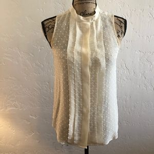 Madewell sheer, cream, blouse, size XS